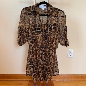Gypsy Warrior chiffon cheetah/leopard print dress